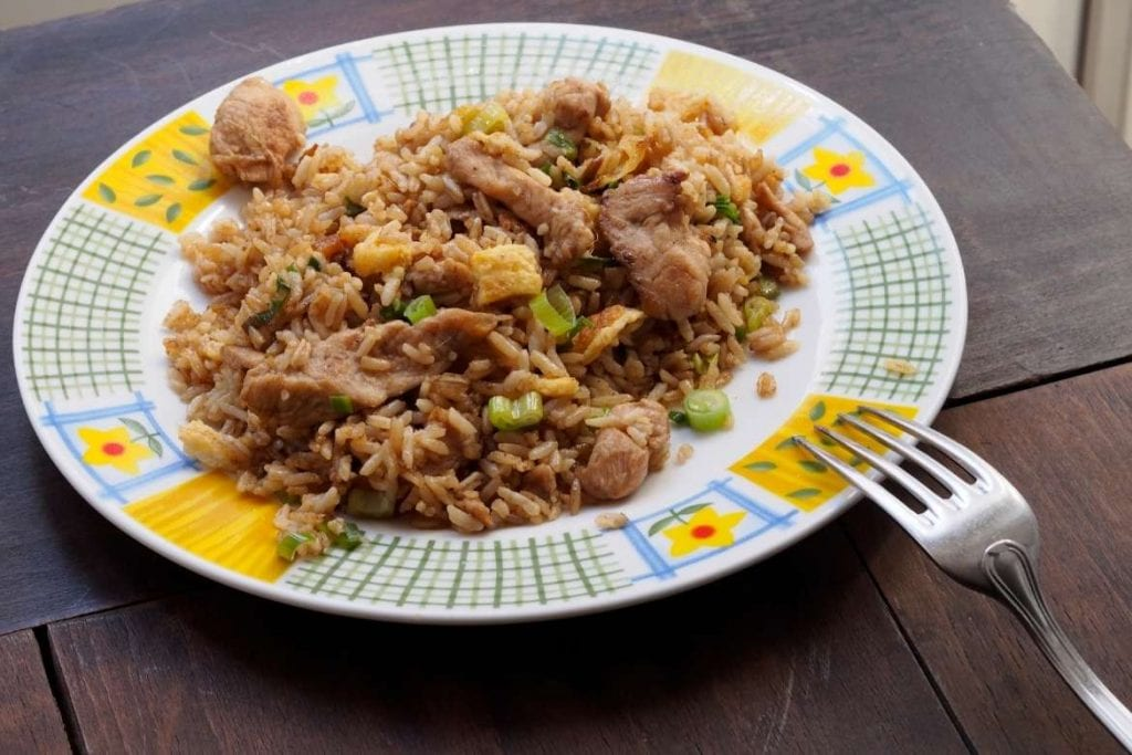 peruvian chaufa rice on a plate, very popular fried rice dish in Peru