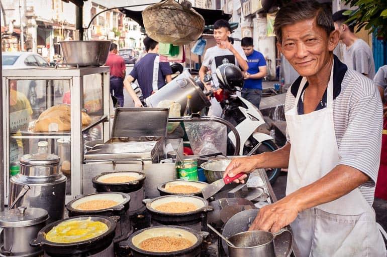 Vendedor de comida de rua em Penang