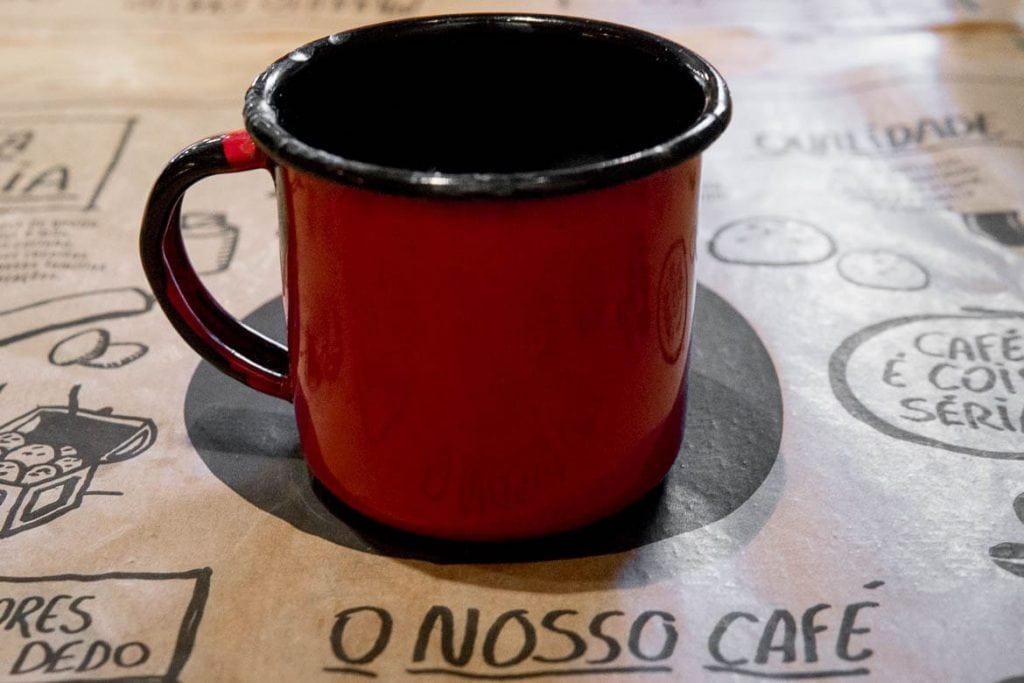 a red cup with brazilian coffee