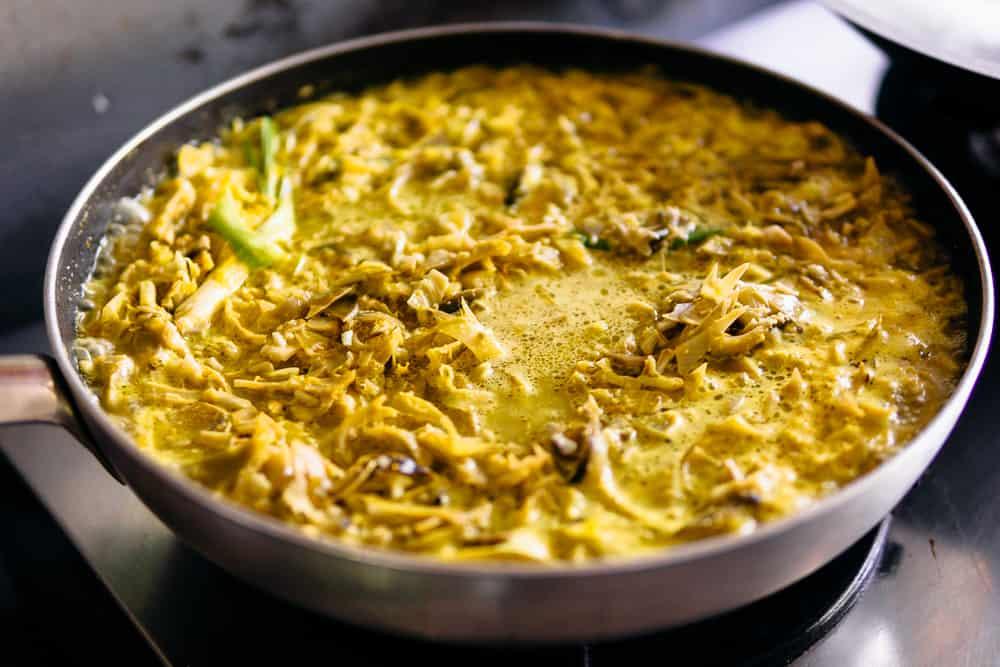 Curry de coração de bananeira de Java na Indonésia