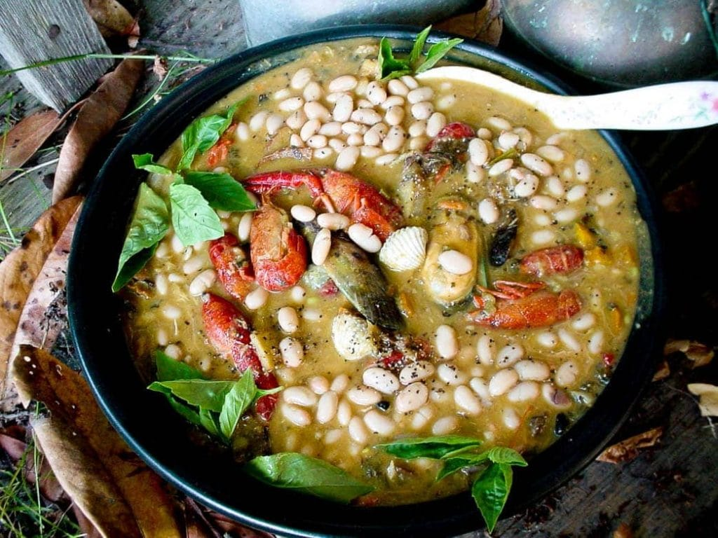 Feijoada de Mariscos Portuguesa with seafood and white beans typical of Portugal