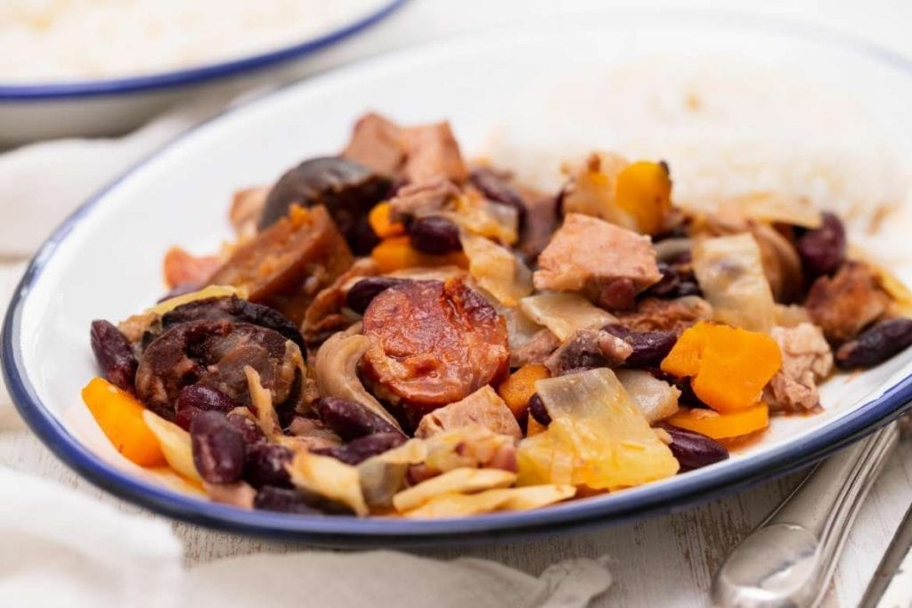 Feijoada Transmontana with pork and red beans traditional Trás-os-Montes dish from the portuguese cuisine