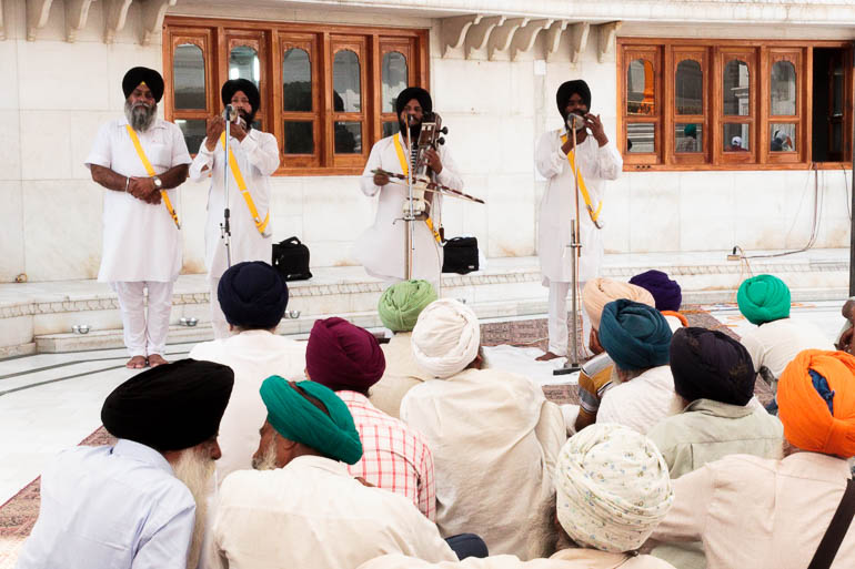 Sikhs playing music at the Golden Temple
