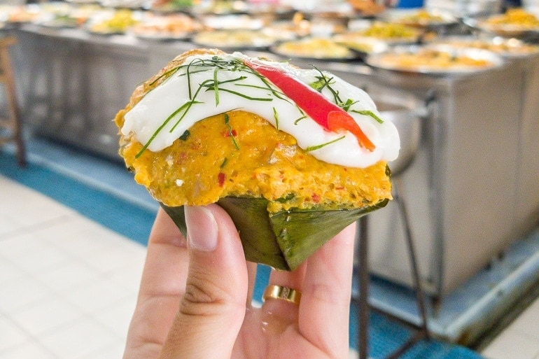 Hor Mok Pla is a steamed curry dumplings