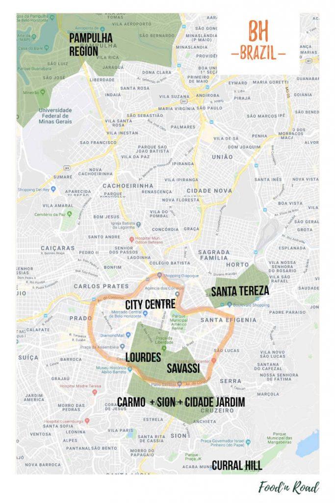 mapa destacando os melhores bairros onde ficar em belo horizonte