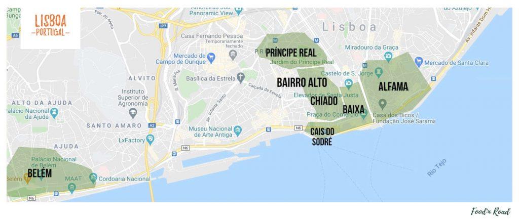 guia de viagem Lisboa com mapa dos principais bairros para conhecer