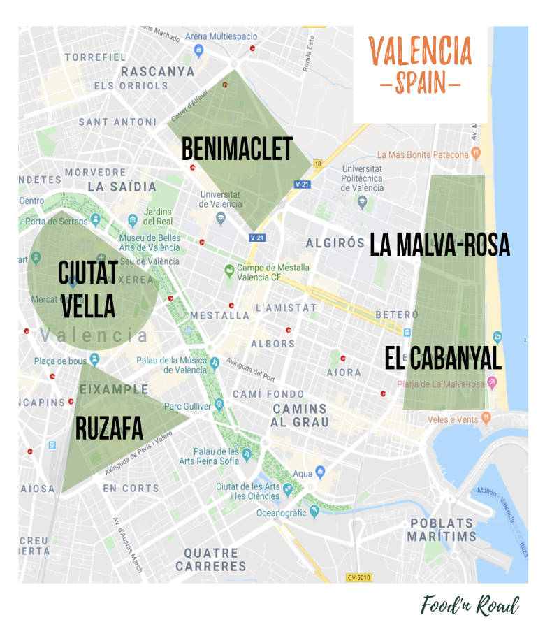 map of Valencia featuring best areas to stay in valencia