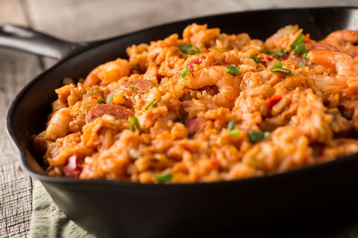 jambalaya on of the typical creole rice dishes of New Orleans, Louisiana, USA