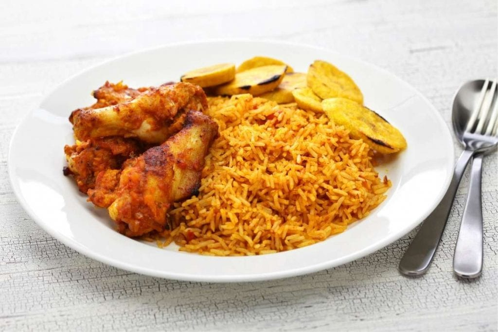 jollof rice with chicken a typical West African rice dish