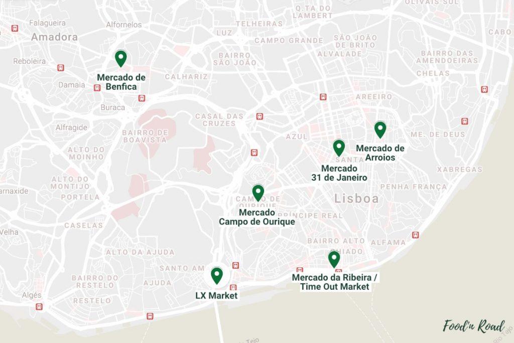 Um mapa com marcadores de localização dos melhores mercados de Lisboa