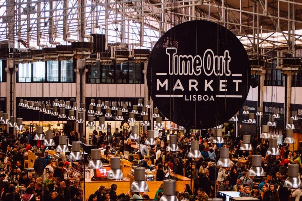 Photo inside of Time Out Market - one of the best food markets in Lisbon