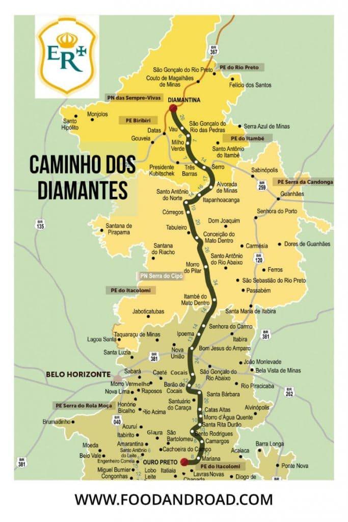mapa do caminho dos diamantes da estrada real