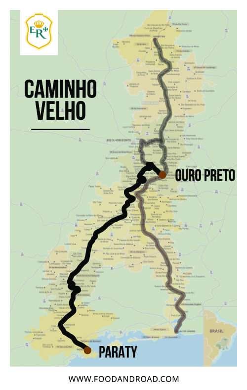 mapa do caminho velho da estrada real