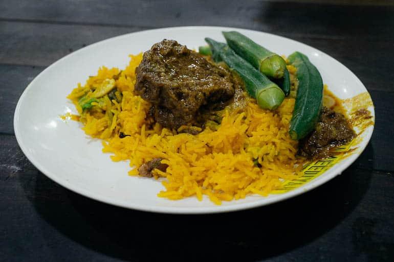 beef rendang with biryani rice served in nasi kandar penang malaysia