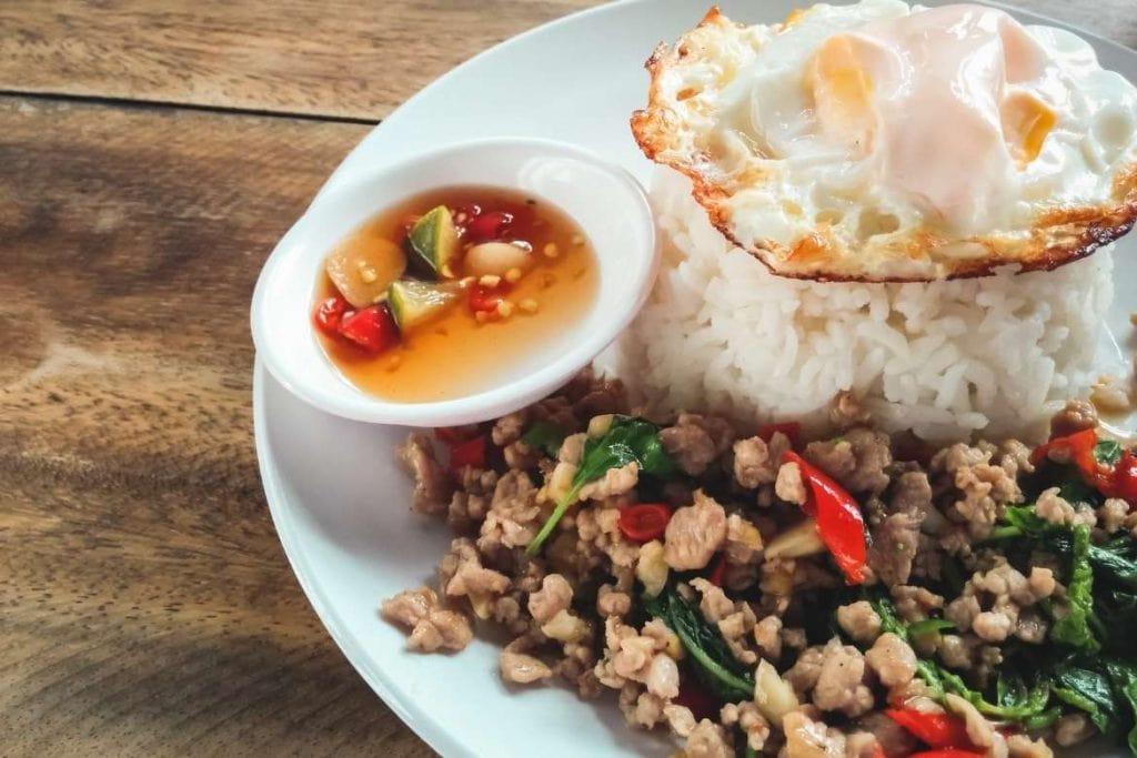 pad kra pao rice dish very popular in Thailand