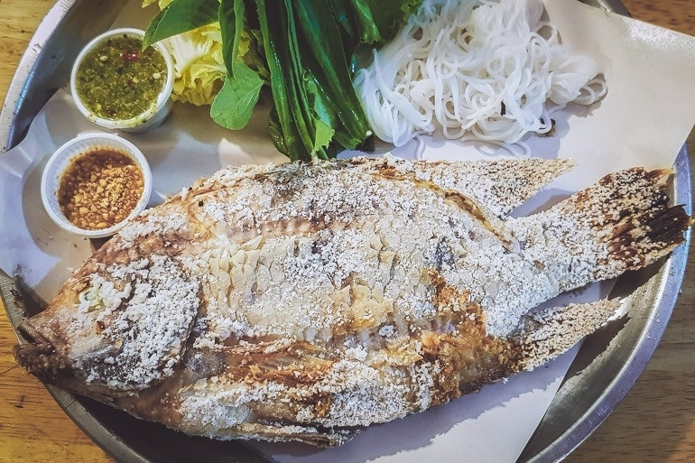 grilled fish stuffed with herbs popular Thai Food