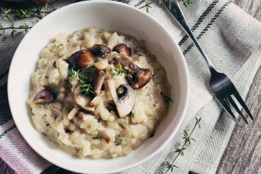 an italian risotto dish with mushroom