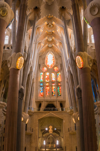 Amazing interior of Sagrada Familia Cathedral
