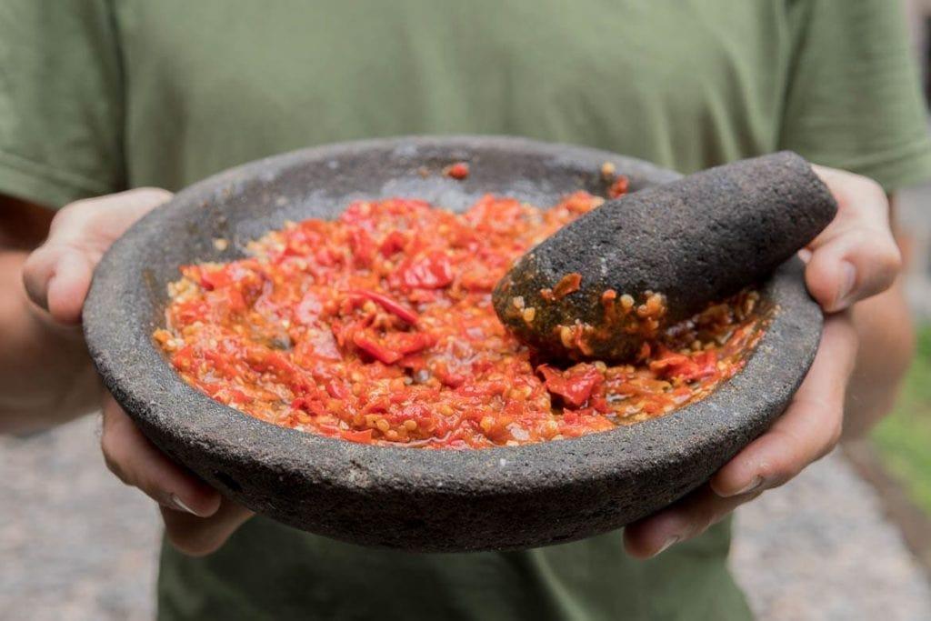 molho de pimenta típico da Indonésia