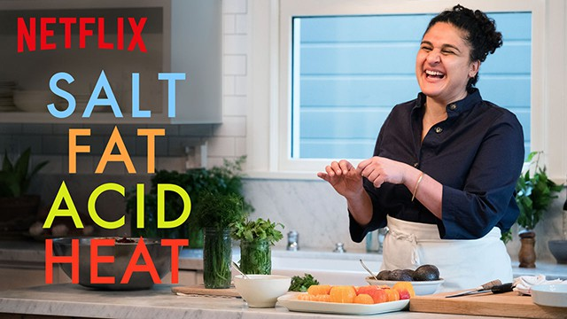 cover of salt fat acid heat a series about food on netflix
