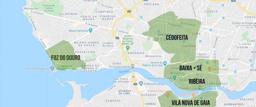 Porto Travel Guide - Best Places to Stay Map