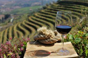 na frente um copo de vinho em uma tábua de madeira, atrás a vista para o vinhedo por trás na região do Douro