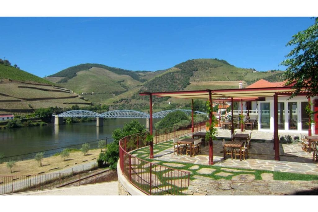 view of a restaurant terrace in Douro valley during private wine tour in Douro region