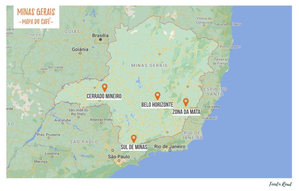 mapa da rota do café em minas gerais