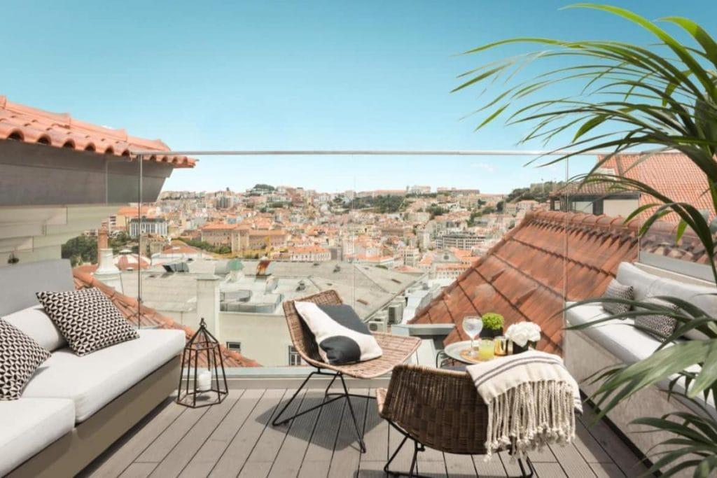 Varanda do The Lumiares Hotel & SPA com vista para a cidade - recomendação de onde ficar em Lisboa