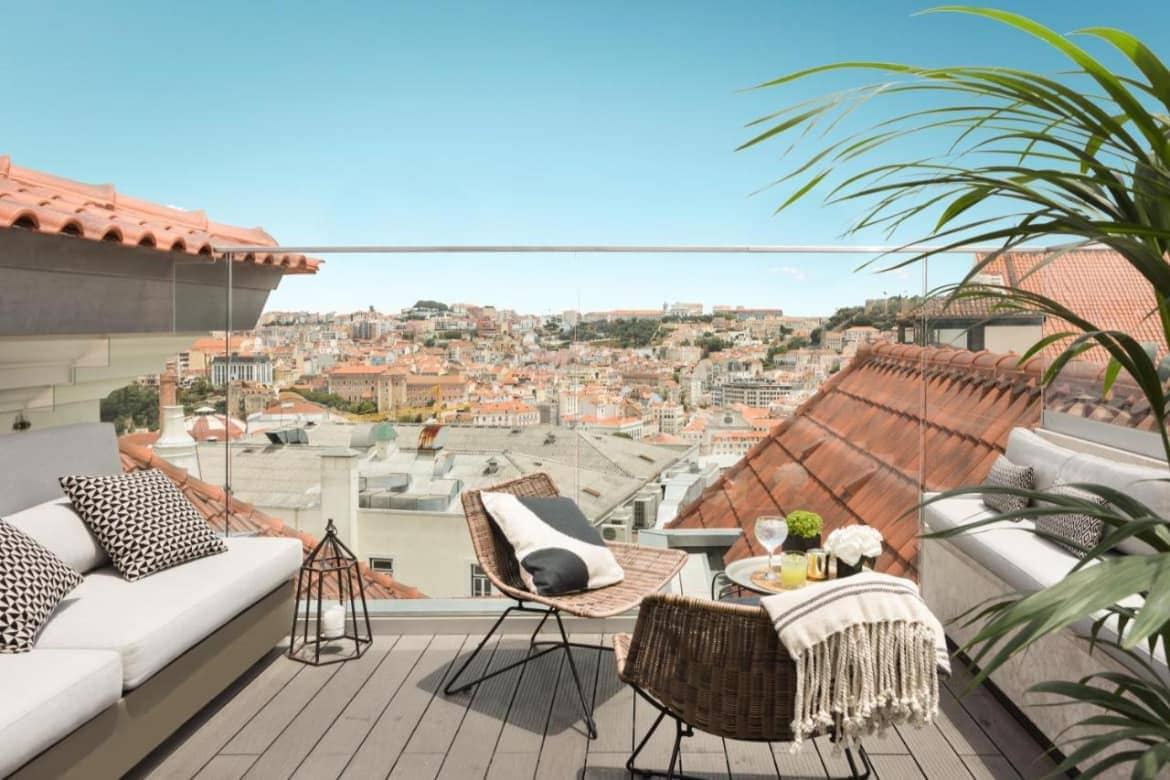 Photo of The Lumiares Hotel & SPA cosy terrace with view of Lisbon
