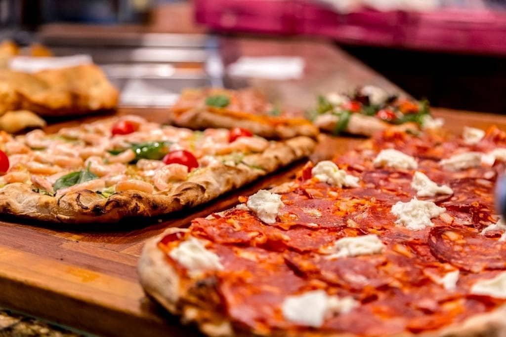 pizza al taglio on display in Rome
