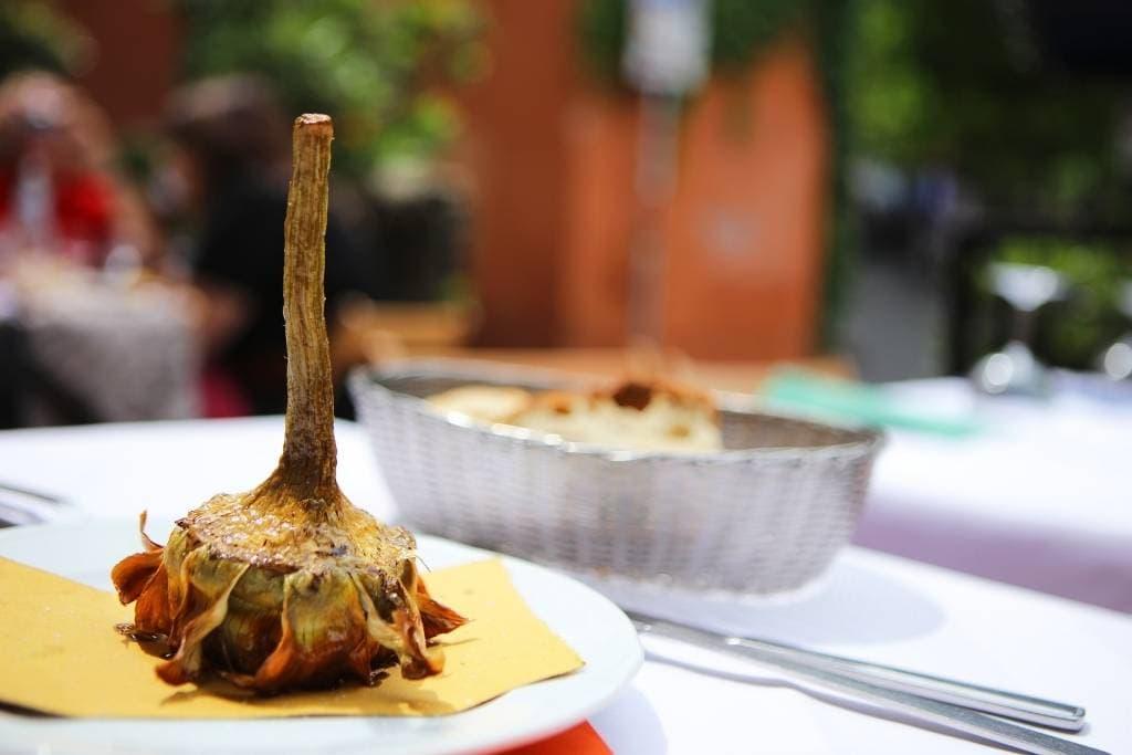 upside down fried carciofi alla giudia style in rome