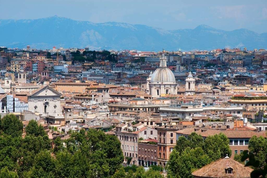 Rome landscape, view from Gianicolo Hill in Rome