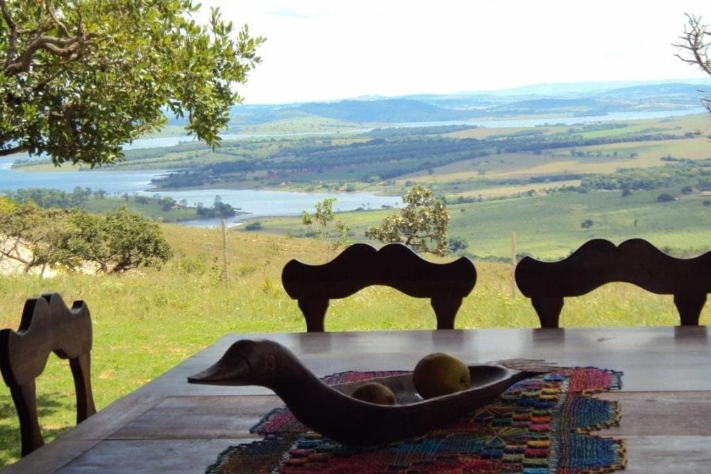 panoramic view from the dining table at encantos do cerrado inn in minas gerais