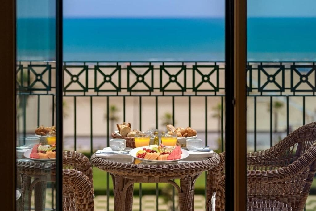 seafront balcony in a double room at las arenas baleneario resort
