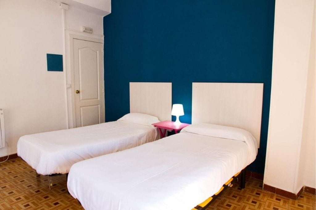 two single beds at russafa hostel room