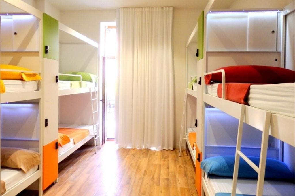 colourful bunkbeds at urban youth hostel in valencia