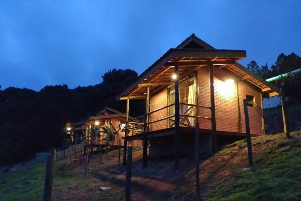 outdoor with private cottages at pousada recanto primavera